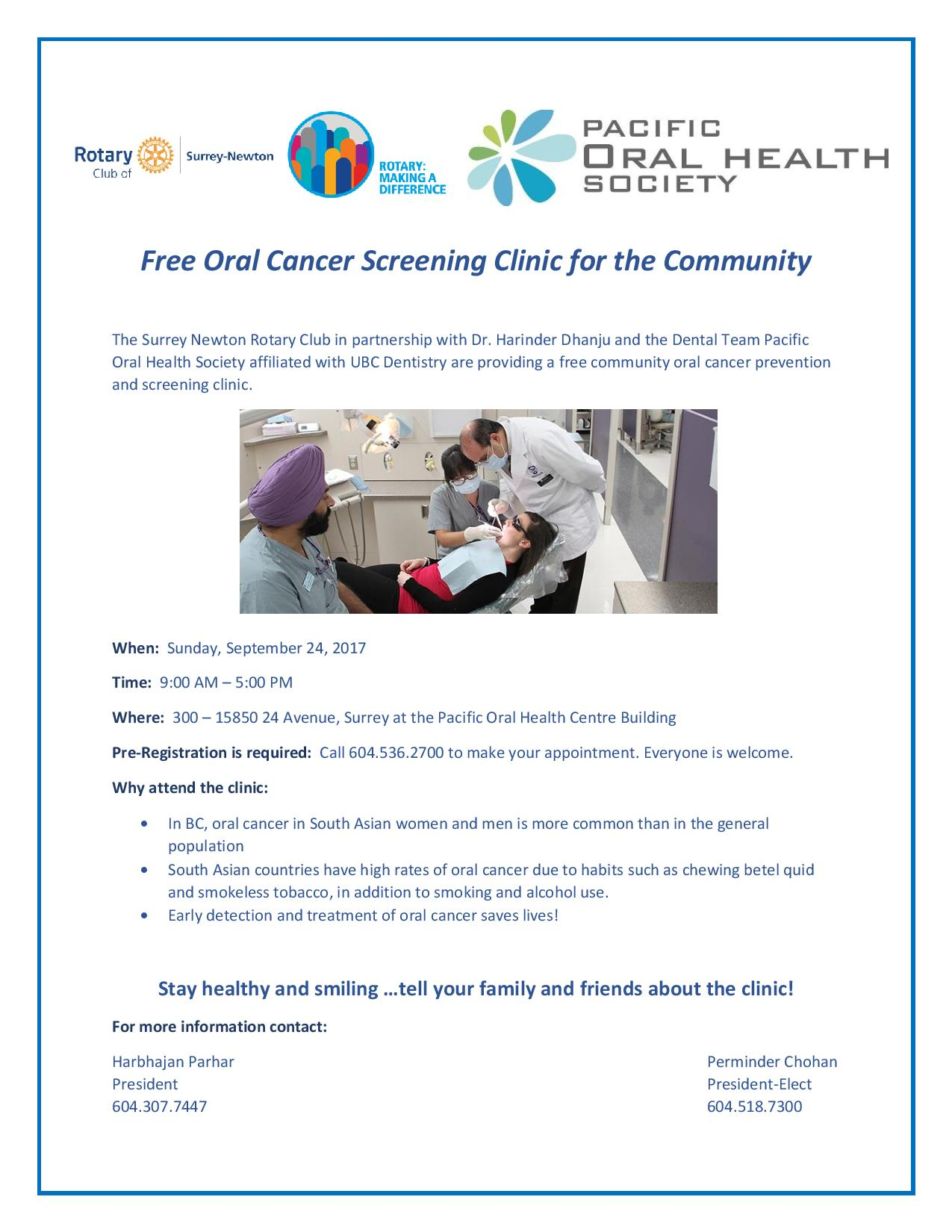 Free Oral Cancer Screening Clinic for the Community