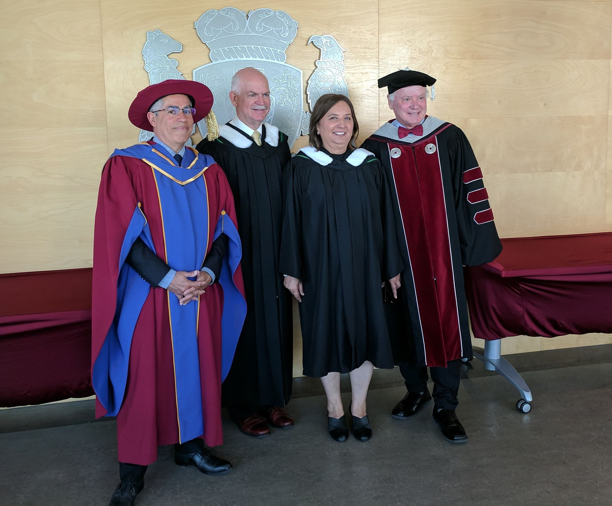 Several Surrey MLAs in academic regalia at KPU's spring convocation ceremony at KPU Surrey campus on Friday, June 1, 201